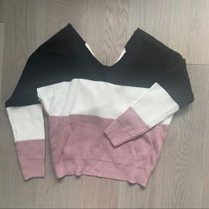 Tri-Color Sweater with Tie Back